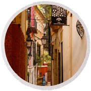 Streets Of Seville  Round Beach Towel
