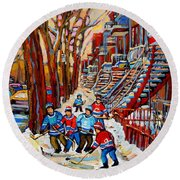 Streets Of Verdun Hockey Art Montreal Street Scene With Outdoor Winding Staircases Round Beach Towel