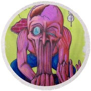Round Beach Towel featuring the drawing Stretching The Truth by Michael  TMAD Finney
