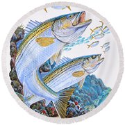 Striped Bass Rocks Round Beach Towel by Carey Chen
