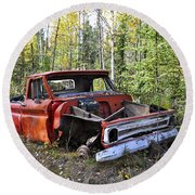 Round Beach Towel featuring the photograph Stripped Chevy by Cathy Mahnke