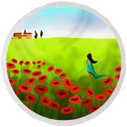 Strolling Among The Red Poppies Round Beach Towel by Anita Lewis