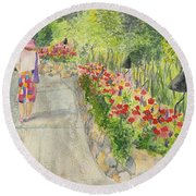 Round Beach Towel featuring the painting Strolling Butchart Gardens by Vicki  Housel