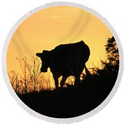 Round Beach Towel featuring the photograph Strolling Into The Sunset by Penny Meyers