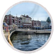 Strolling On The Boardwalk At Disney World Round Beach Towel