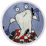 Round Beach Towel featuring the painting Strong Teeth by Anthony Falbo