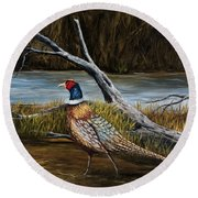 Strutting Pheasant Round Beach Towel