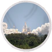 Round Beach Towel featuring the photograph Sts-132, Space Shuttle Atlantis Launch by Science Source
