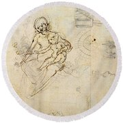 Studies For A Virgin And Child And Of Heads In Profile And Machines, C.1478-80 Pencil And Ink Round Beach Towel