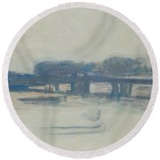 Study For Charing Cross Bridge, 1899-1901 Oil On Canvas Round Beach Towel