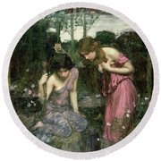 Study For Nymphs Finding The Head Of Orpheus, C.1900 Oil On Canvas Round Beach Towel