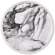 Study For The Creation Of Adam Round Beach Towel