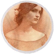 Study For The Lady Clare Round Beach Towel