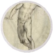 Study For The Last Judgement  Round Beach Towel
