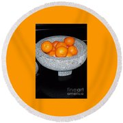 Study In Orange And Grey Round Beach Towel by Susan Williams