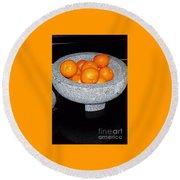 Study In Orange And Grey Round Beach Towel