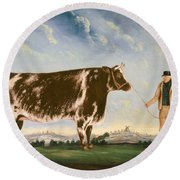 Study Of A Shorthorn Round Beach Towel by William Joseph Shayer