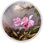 Study Of An Orchid Round Beach Towel by Martin Johnson Heade