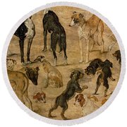 Study Of Hounds, 1616 Round Beach Towel