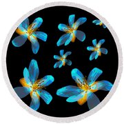 Study Of Seven Flowers #4 Round Beach Towel