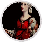 Study Of St. Cecelia Round Beach Towel