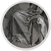 Study Of The Robes Of Christ, 1508 Gouache And Ink On Paper Round Beach Towel