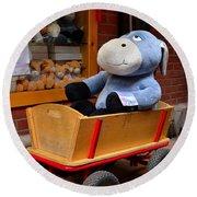 Stuffed Donkey Toy In Wooden Barrow Cart Round Beach Towel