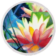Styalized Lily Pads 3 Round Beach Towel