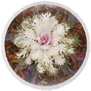 Round Beach Towel featuring the digital art Stylized Cabbage by Victoria Harrington
