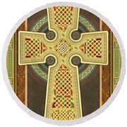 Stylized Celtic Cross Round Beach Towel
