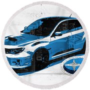 Subaru Impreza Wrx Recycled License Plate Art On White Barn Door Round Beach Towel