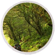 Subaru In The Rainforest Round Beach Towel by Adam Jewell