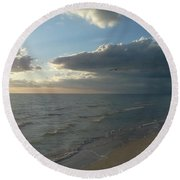 Subdued Sunset Round Beach Towel