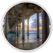 Subtle Pier Sunset Round Beach Towel