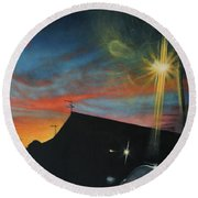 Suburban Sunset Oil On Canvas Round Beach Towel