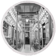 New York City - Subway Car Round Beach Towel