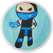 Subzero Frozen Heart Round Beach Towel