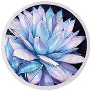 Round Beach Towel featuring the digital art Succulent In Blue And Purple by Jane Schnetlage