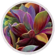 Succulent Jewels Round Beach Towel