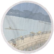 Sudden Shower On Ohashi Bridge At Ataka Round Beach Towel