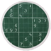 Sudoku On A Chalkboard Round Beach Towel