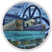 Round Beach Towel featuring the mixed media Sugar Mill Gizmo by Deborah Boyd
