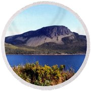 Round Beach Towel featuring the painting Sugarloaf Hill In Summer by Barbara Griffin