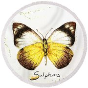 Sulphurs - Butterfly Round Beach Towel