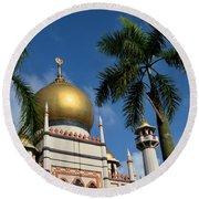 Sultan Masjid Mosque Singapore Round Beach Towel