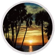 Round Beach Towel featuring the photograph Sultry Sunset by Janie Johnson