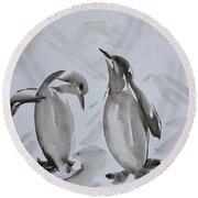 Sumi-e Penguin Dance Round Beach Towel