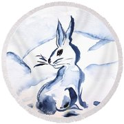 Sumi-e Snow Bunny Round Beach Towel by Beverley Harper Tinsley