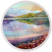 Round Beach Towel featuring the painting Summer Afternoon by Sher Nasser