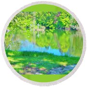 Summer At The Lake Round Beach Towel